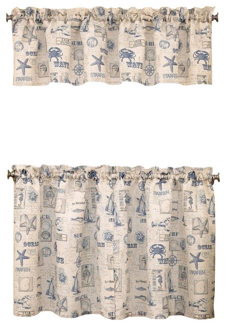 "By The Sea Kitchen Curtain, 24"" Tier."