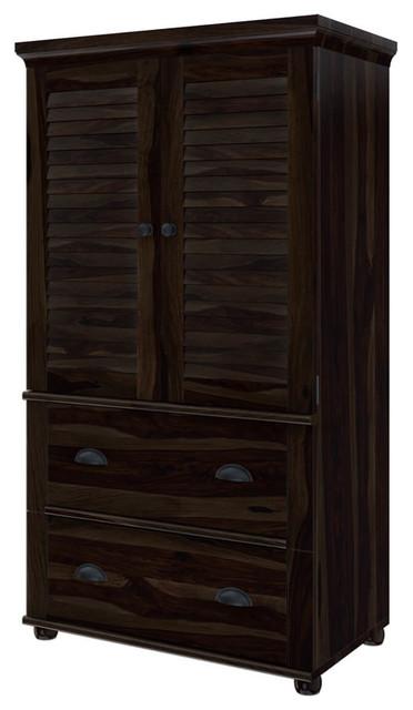 Indiana Rustic Solid Wood Louvered 2 Door Bedroom Armoire Wardrobe