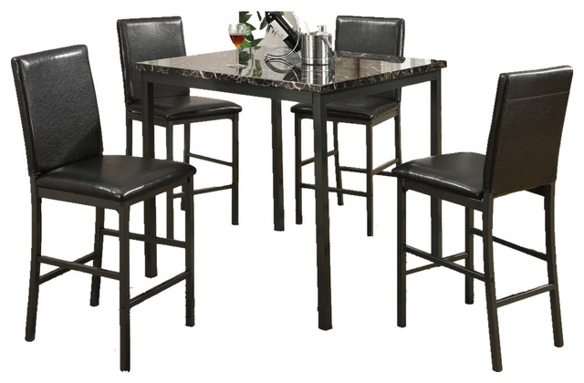 5-Piece Counter Height Dining Set, Marble Table Top, Faux Leather Tufted Chairs.