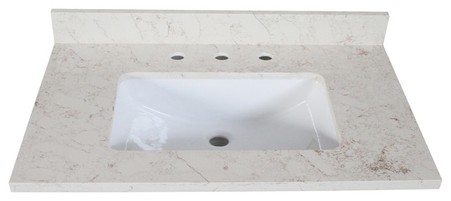 "Quartz Vanity Top, Giallo, 25""x22""."
