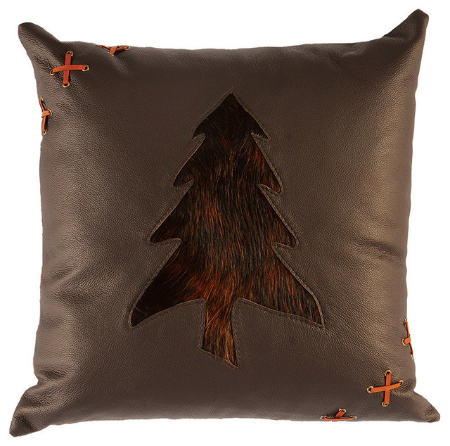 Tress Cutout Pillow, 18x18 with Fabric Back - Rustic - Decorative Pillows - by Wooded River Inc