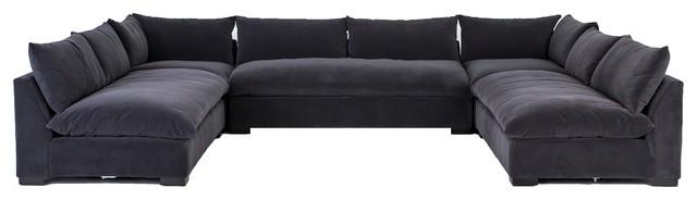 Surprising Gabby Modern Charcoal Grey 5 Piece Armless U Sectional Sofa Bralicious Painted Fabric Chair Ideas Braliciousco