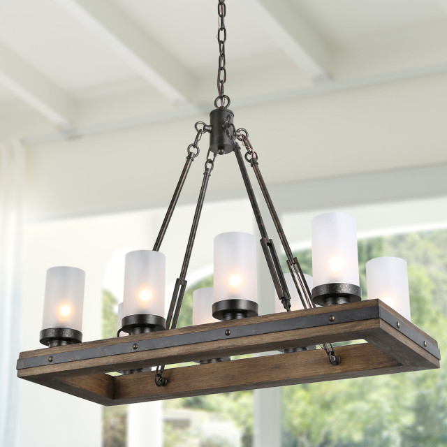 8 Lights Rustic Chandeliers Use Wood