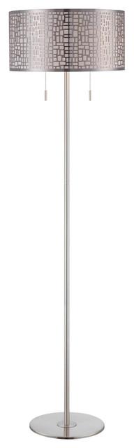 Torre 2-Light Floor Lamps, Polished Steel.