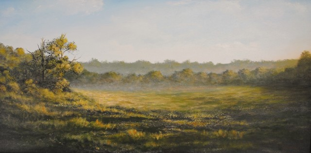Original Landscape Painting Misty Morning Tropical