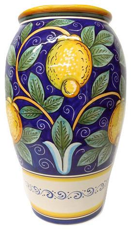 Deruta Ceramiche Sberna Umbrella Stand/Floor Vase with Lemons ...