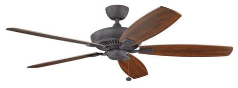 Kichler Tulle 60 5 Blade Ceiling Fan, Distressed Black.