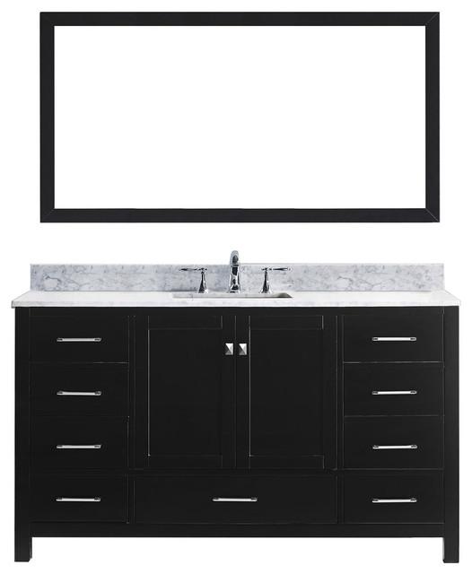 Virtu Caroline Avenue 60 Single Bathroom Vanity, Espresso, Mirror.