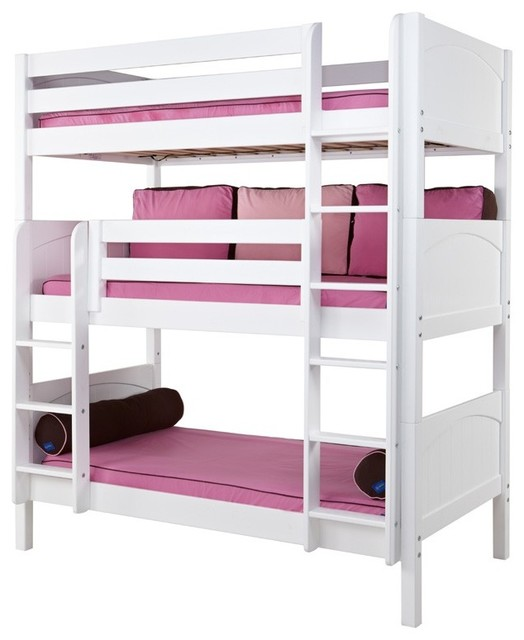 Stella Triple Bunk Bed, Twin Over Twin Over Twin, Bunk Bed Only  contemporary-