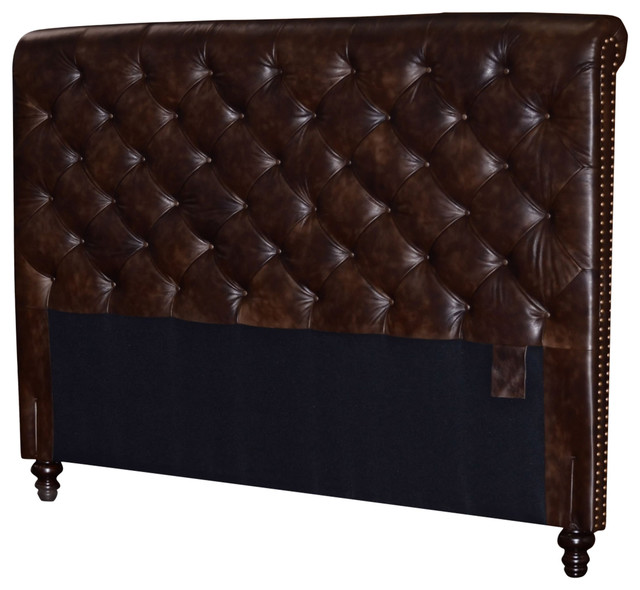 Chesterfield Headboard, Deep Button Tufting And Nail Heads, 2-Tone Tobacco, King.