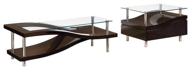 Global Furniture Usa 759 Wave 2-Piece Clear Glass Coffee Table Set In Wedge.