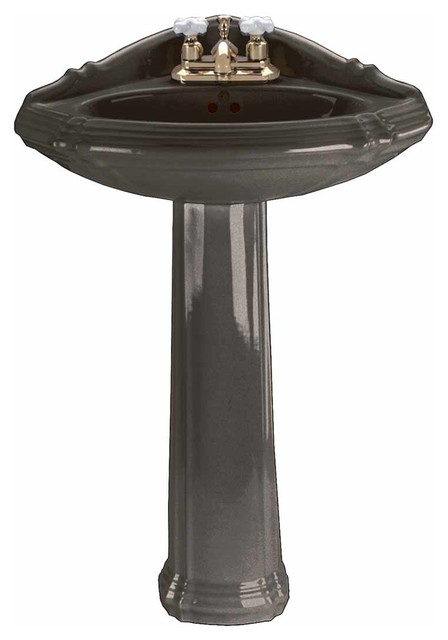 Black Corner Oval Pedestal Sink Grade A Vitreous China