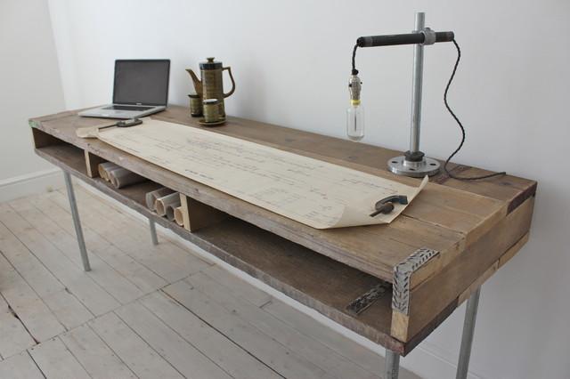 Ellie Reclaimed Scaffolding Industrial Desk with Built In Storage