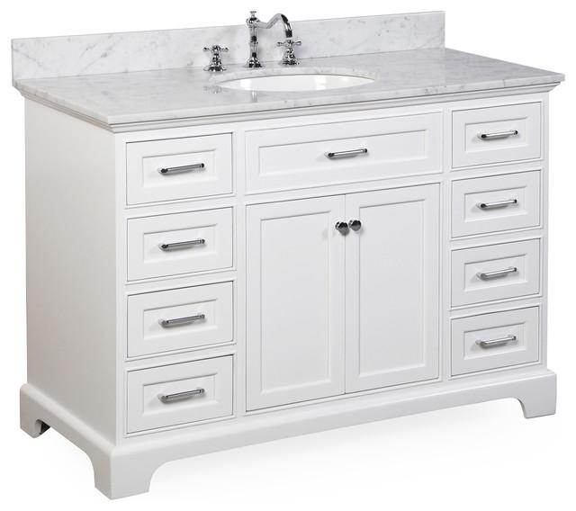 "Aria Bathroom Vanity, Base: White, 48"", Top: Carrara Marble"