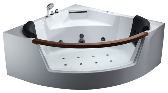 Good EAGO AM197 5u0027 Rounded Clear Modern Corner Whirlpool Bath Tub With Fixtures  Bathtubs