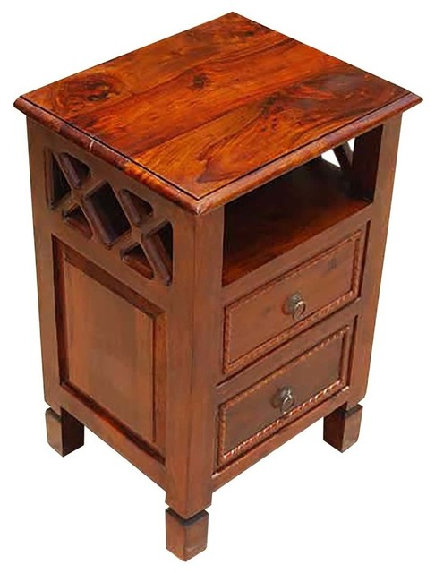 Solid Wood 2 Storage Drawers Side End Table Night Stand Transitional Nightstands And Bedside Tables By Sierra Living Concepts - Solid Oak Side Table With Drawers