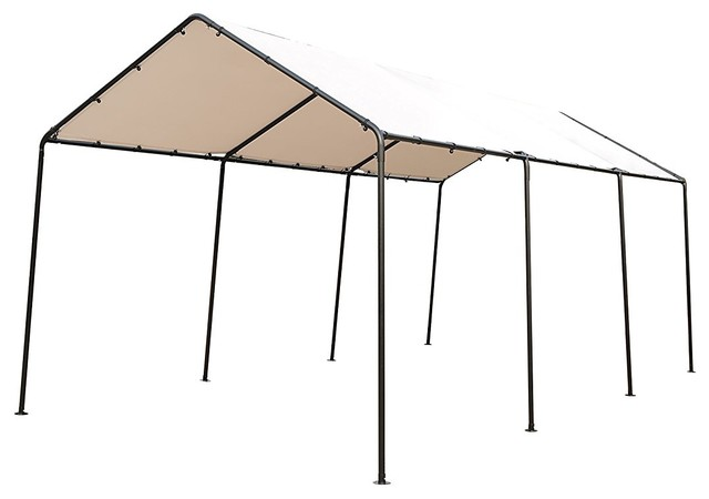 Sorara 10&x27;x20&x27; Outdoor Car Canopy Gazebo With 8 Steel Legs, White.