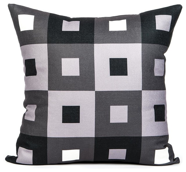 A Pex Black White And Gray Throw Pillow Cover Modern Decorative Pillows By Lacozi