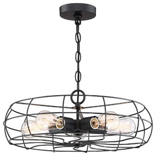 "Revel Hudson 18"" Industrial 5-Light Cage Fixture, Matte Black Finish, Chandelier"