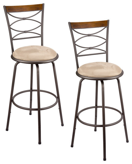 Avery Adjustable Swivel Bar Stools Set Of 2 Bronze Metal