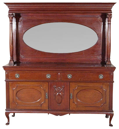 Antique 6Ft Solid Walnut Queen Anne Buffet Sideboard ...