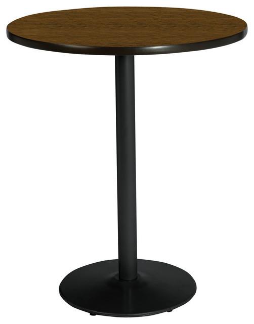 Kfi 36 Round Pedestal Table With Walnut Top, Round Black Base.