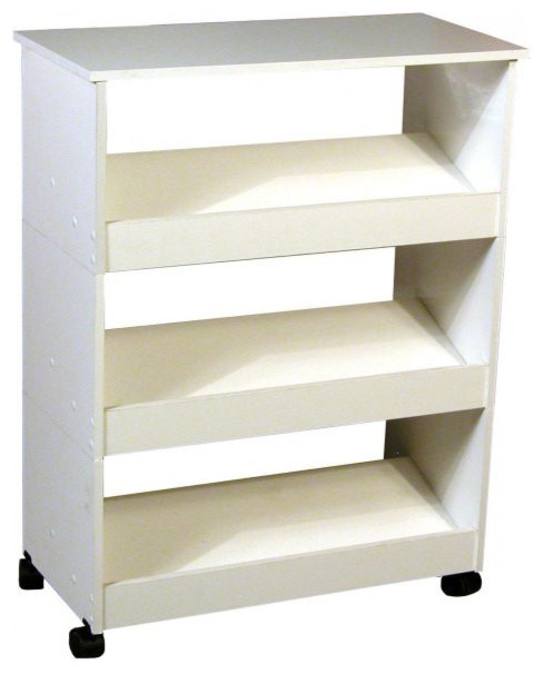 Mobile Shoe Caddy With Top And 3-Slanted Shelves, White Finish.