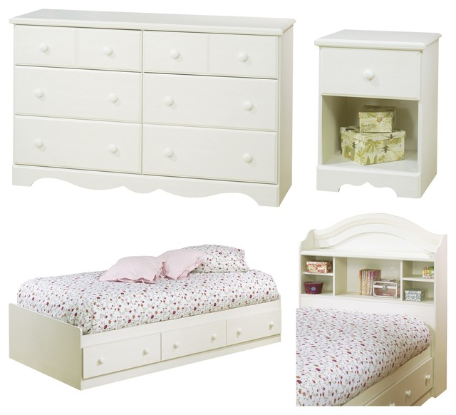 Superior South Shore Summer Breeze 4 Piece Bedroom Set, White Wash, Twin