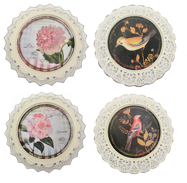 Decorative Wall Plates Set Of 4 : Birds and flowers decorative plates set of