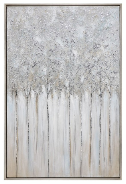 "Tall 62"" Birch Tree Forest White Gray Wall Art, Painting Oversize Silver Frame"