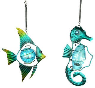Blue Glass And Metal Art Fish And Seahorse Accent Light Hanging Ornament Set Beach Style Outdoor Hanging Lights By Zeckos