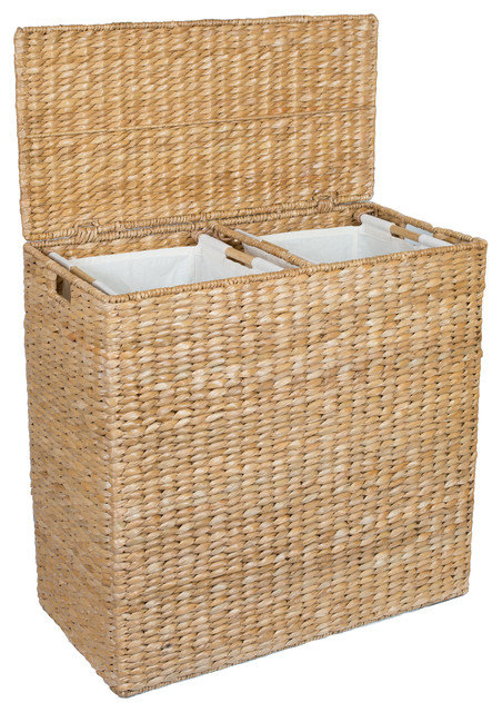 Sofia And Sam Oversized Divided Hamper With Liners Honey