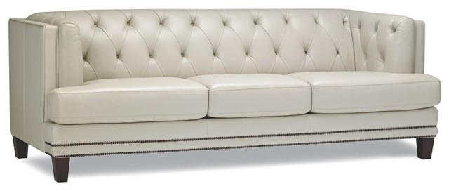 Tufted Leather Sofa With Nailhead Trim Contemporary