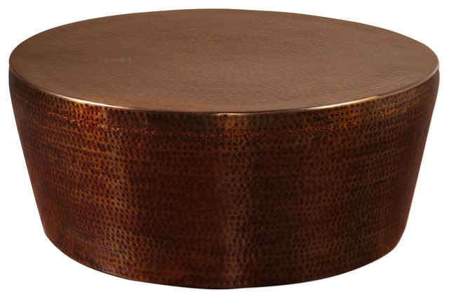 Hand Hammered Copper Bronze Iron Coffee Table, Round Drum Dark Metallic  Contemporary Coffee