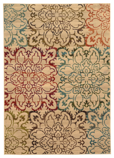 Eliza Floral Rug, Ivory and Multi, 7'10x10' by Newcastle Home