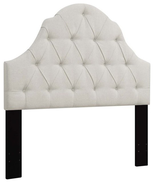 Shaped Camel Back Button Tufted King Upholstered Headboard, Linen.