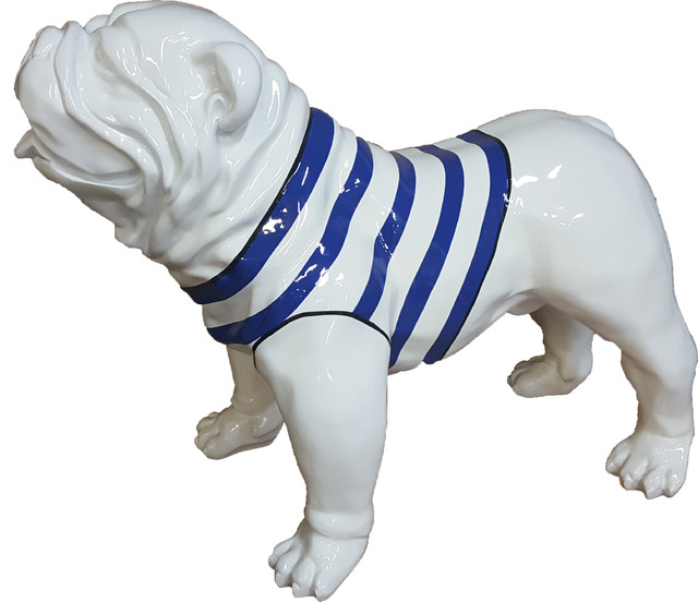 Resin Statue English Bulldog Us Standing White Sailor Blue