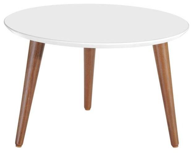 Mid Century Modern Round Wooden Accent Coffee Table White Modern