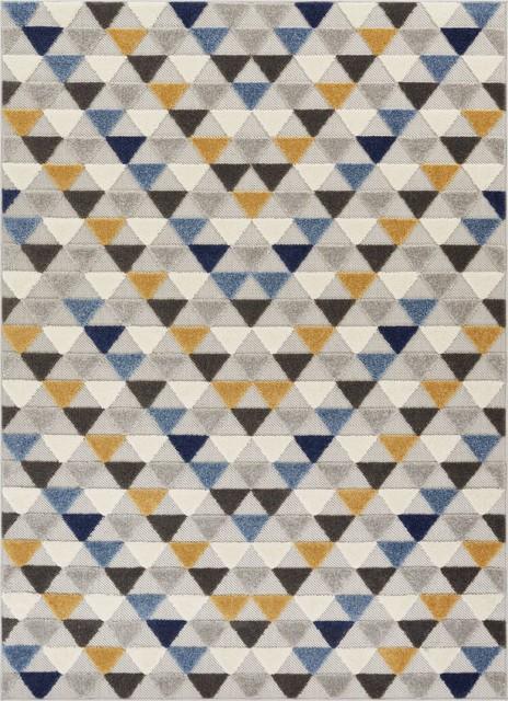 Dorado Dream Blue Modern Geometric Triangles Indoor Outdoor Area Rug Do-94.