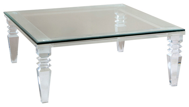 Nice Luxor Modern Classic Square Crystal Cut Acrylic Coffee Table
