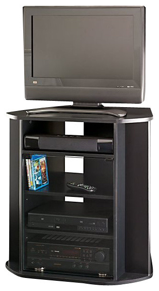 black corner tv stand Tall Corner TV Stand, Black Finish   Entertainment Centers And Tv  black corner tv stand
