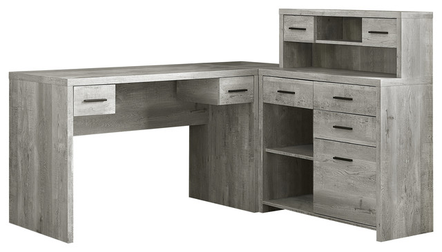 Enjoyable Computer Desk Gray Reclaimed Wood L R Facing Corner Interior Design Ideas Jittwwsoteloinfo