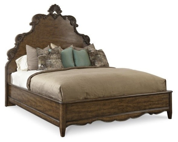 Continental Panel Bed, Weathered Nutmeg, King.
