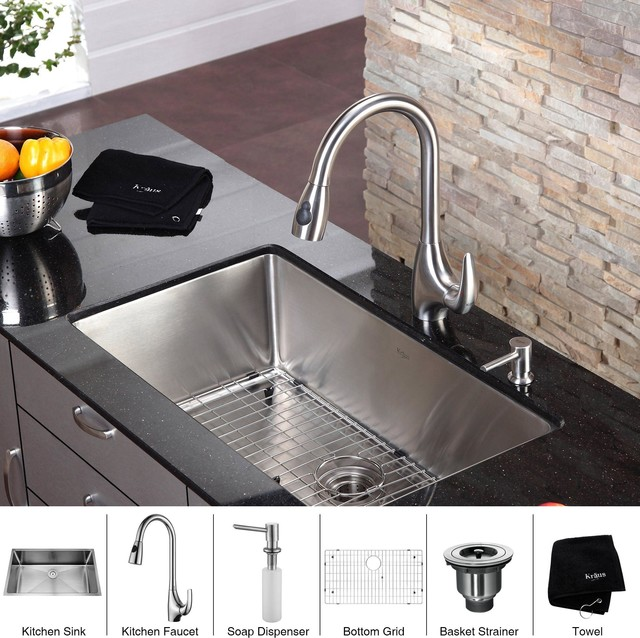 kraus usa inc kraus 32 inch undermount single bowl stainless steel kitchen sink with kitchen f. Black Bedroom Furniture Sets. Home Design Ideas