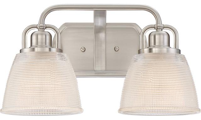 Dublin 2-Light Bathroom Vanity Lights, Brushed Nickel.