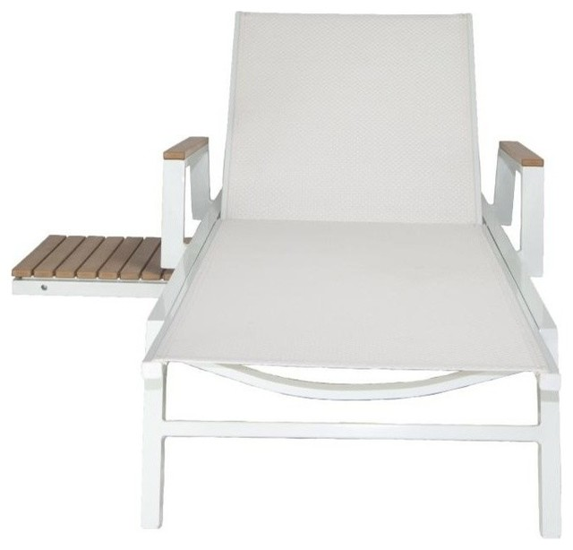 Seaview Outdoor Chaise Lounge, White.