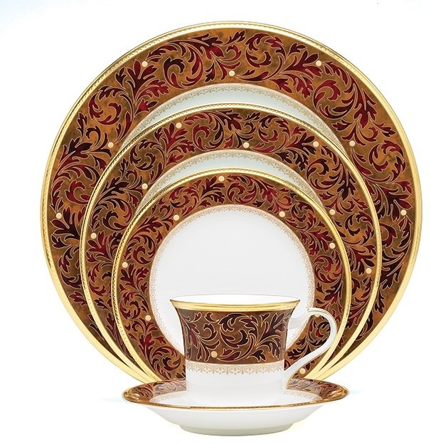 Noritake Xavier 5 Piece Place Setting Gold Traditional Dinnerware Sets By Unique Gifts