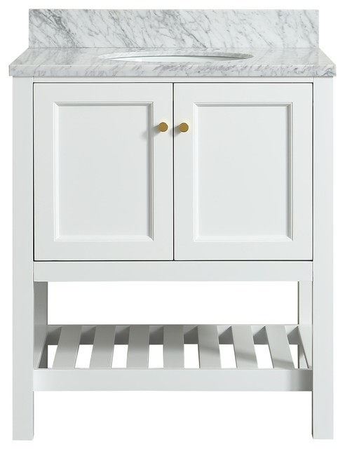Elma White Bathroom Vanity With Carrara Marble Top 30 Transitional Vanities And Sink Consoles By Houzz
