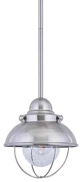 Sea Gull Lighting 1-Light Outdoor Mini-Pendant, Brushed Stainless