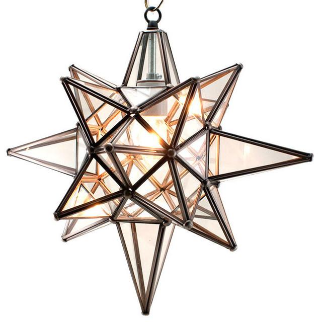 Star Of Bethlehem, Moravian Star Pendant, Clear Glass, Bronze Frame,15x18.